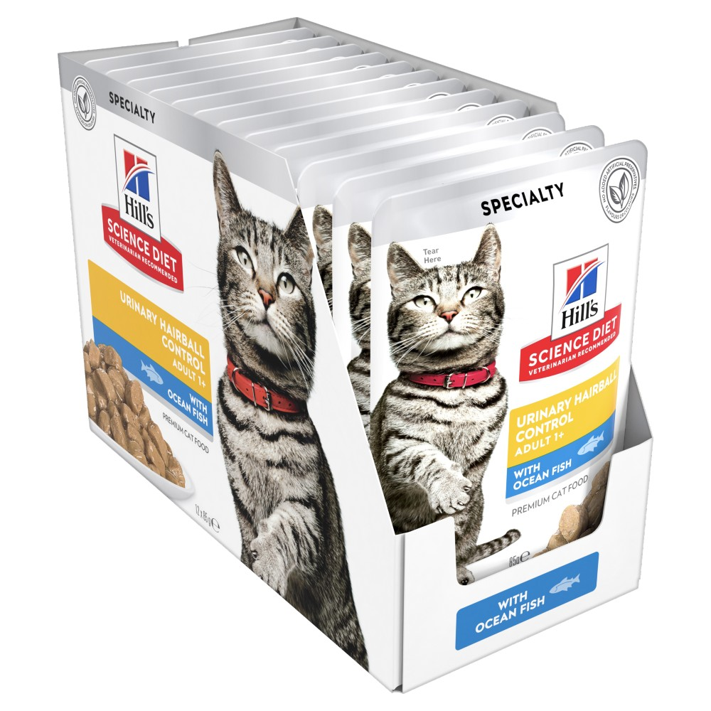 Hills Science Diet Adult Urinary Hairball Control Fish Cat Food Pouches