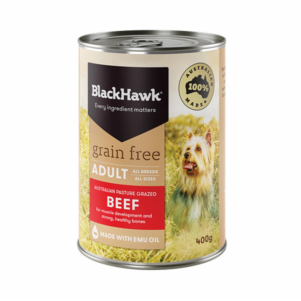 Black Hawk Dog Food Adult Grain Free Beef Cans