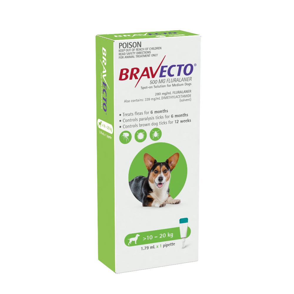 Bravecto Medium 10-20kg Green Spot On Treatment