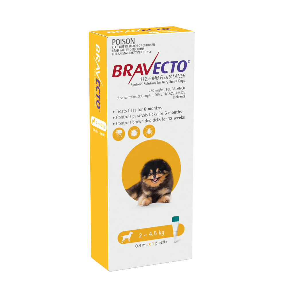 Bravecto Very Small 2-4.5kg Yellow Spot On Treatment