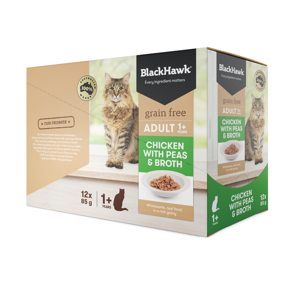 Black Hawk Adult Cat Chicken, Peas and Broth Pouches