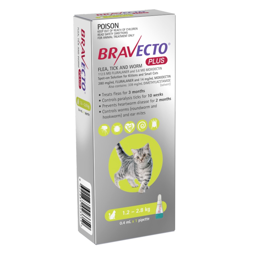 Bravecto Plus Kittens and Small Cats 1.2-2.8kg Green