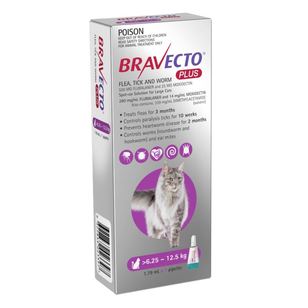 Bravecto Plus Large Cats 6.25-12.5kg Purple