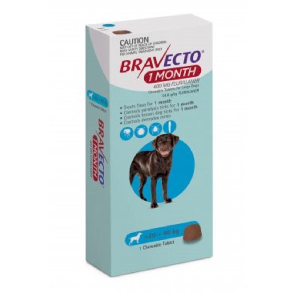 Bravecto Large 20-40kg Blue Dog 1 Month Chew Treatment