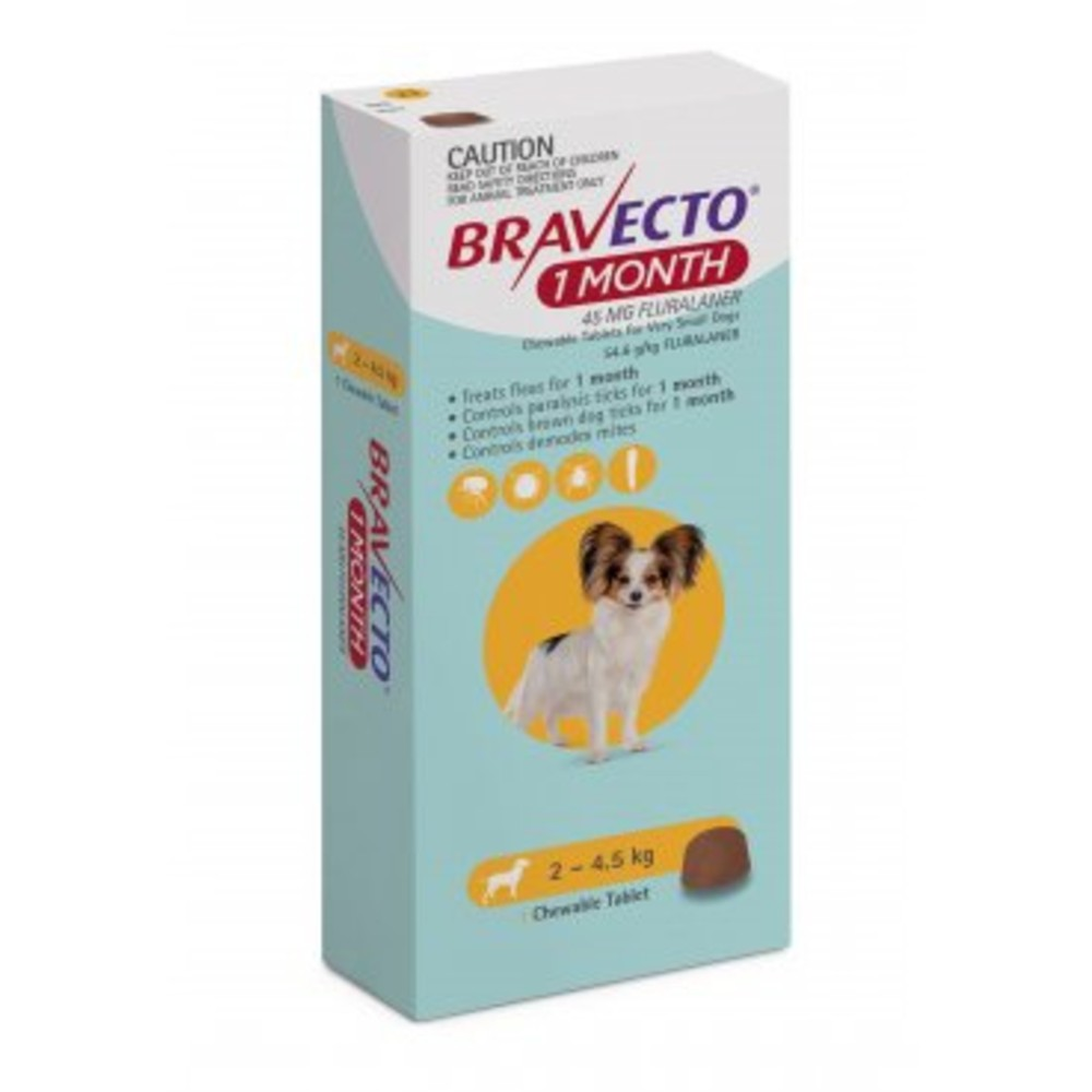 Bravecto Very Small 2-4.5kg Yellow Dog 1 Month Chew Treatment
