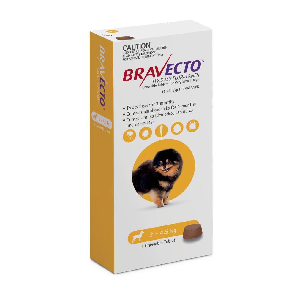 Bravecto Very Small 2-4.5kg Yellow Dog Chew Treatment