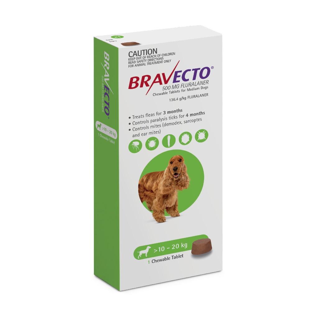 Bravecto Medium 10-20kg Green Dog Chew Treatment