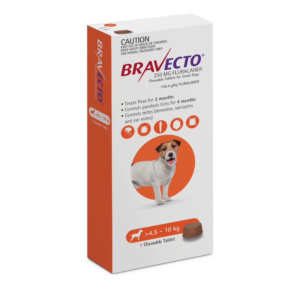 Bravecto Small 4.5-10kg Orange Dog Flea Treatment