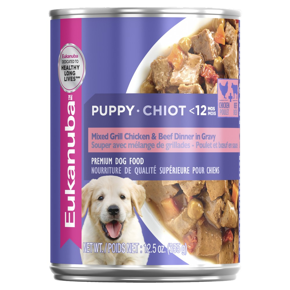 Eukanuba Puppy Mixed Grill Chicken and Beef Dinner in Gravy Cans