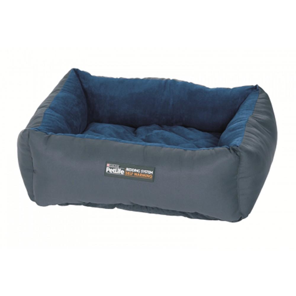 Purina Petlife Self Warm Cuddle Bed Blue/Charcoal
